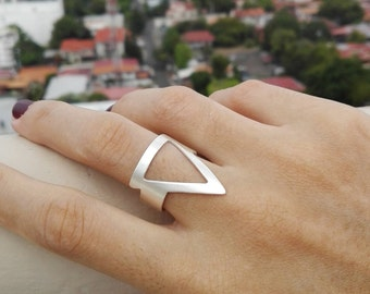 Adjustable silver ring triangle, square silver adjustable ring, square silver ring