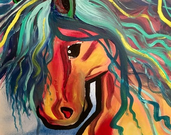 """SALE! - Original Acrylic Painting Horse Canvas Art, Bright Abstract, Mustang, 12"""" by 12"""""""