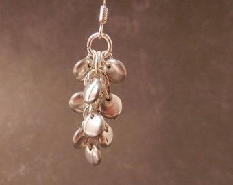 Metallic Silver Czech Pressed Glass Cluster Earrings, Cluster Earrings, Silver Earrings, Shiny Earrings, Dangle Earrings