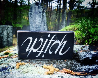 Wooden Sign Decorative Wild Witch of The Woods Goddess Symbol Wicca Witch Sign Hippie Decor Boho Decor Babe Cave Druid Pagan Witchcraft Farmhouse Style Wall Sign