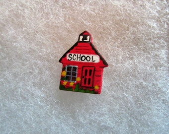 School House Jewelry Pin - handcarved and handpainted