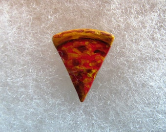 Slice of Pizza Jewelry Pin - handcarved and handpainted