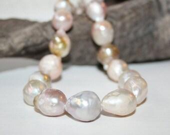 Keshi beads, freshwater pearls, breeding beads, whole strand 39 cm, full beach 15.35 inches