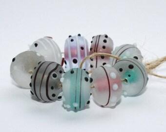 artist beads Lampwork beads handmade set sugarbeads lilac glass beads lampwork beads handmade glass beads