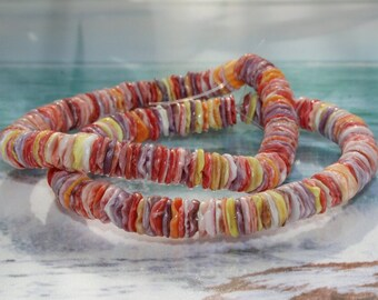 """Handmade beads, Heishi beads, Pectin shell beads, 8 mm, strand 20 cm, 7.8 """""""