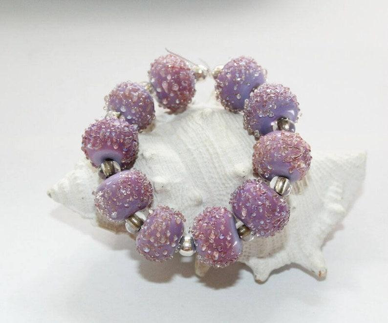 sugarbeads artist beads handmade glass beads handmade set lilac Lampwork beads lampwork beads glass beads