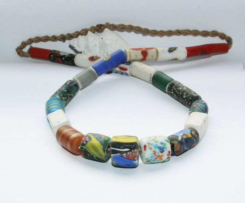 chain strand hippie style handmade handmade trade beads Ethno necklace glass beaded strand colorful beads