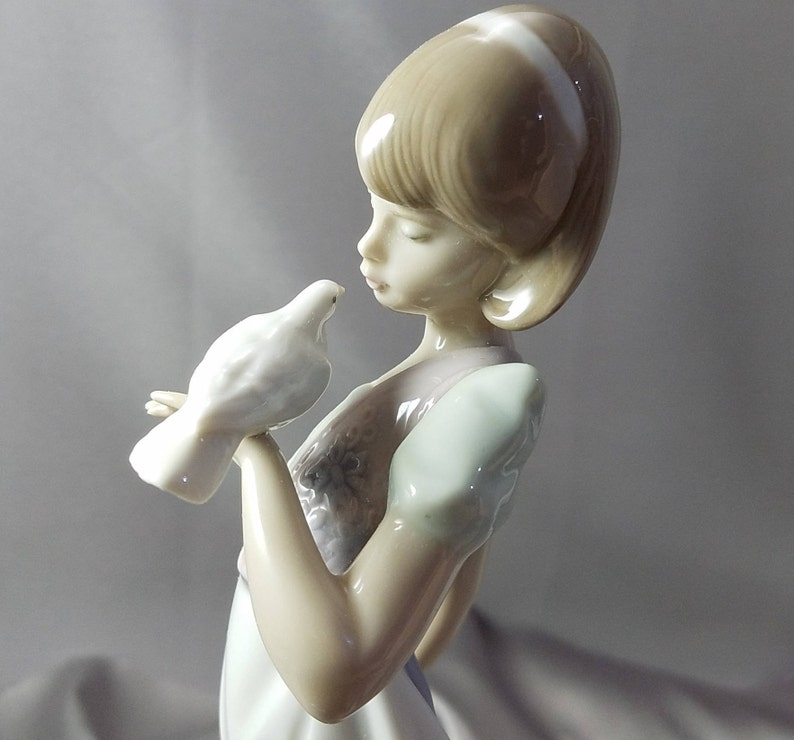Porcelain Lladro Figurine Girl Dove Kitten Parasol Umbrella Etsy