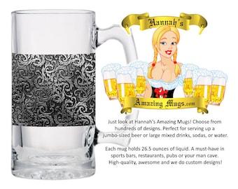 Beer Mug - Metalshop Ornate Design - 26.5 oz Jumbo Size - FREE SHIPPING
