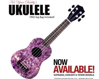 Ukulele & Gig Bag - Crystal Amethyst Design by NotYourDaddy'sUkulele