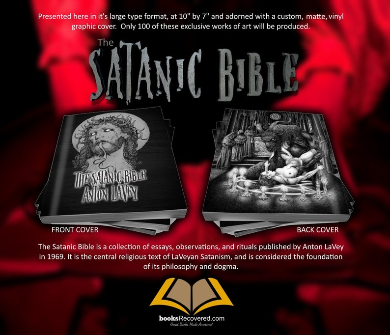 The Satanic Bible - Anton LaVey - Evil Design by BooksRecovered FREE  SHIPPING