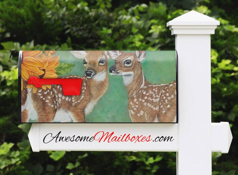 Metal Post Mount and Assembled in the USA Nature Art Fawn Design Awesome Mailbox