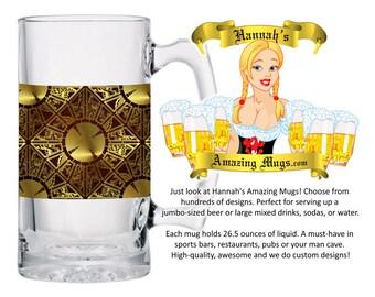 Beer Mug - HELLRAISER Design - 26.5 oz Jumbo Size - FREE SHIPPING