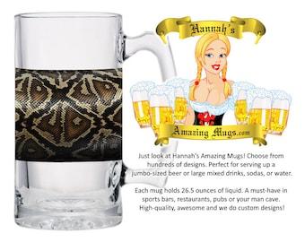Beer Mug - Skinshop Snake Live Design - 26.5 oz Jumbo Size - FREE SHIPPING