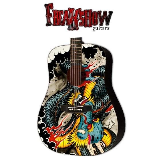 Guitare Acoustique Graphique Tatouages Dragon Design By Etsy