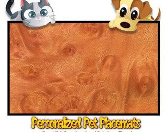 Personalized Pet Placemat - Woodshop Exotic Ahorn Design
