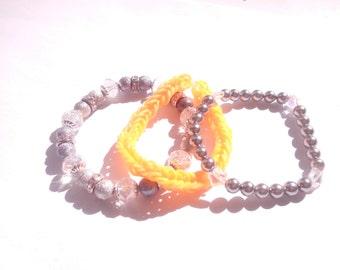 trio de bracelet gris orange crystal - gray orange crystal bracelet trio