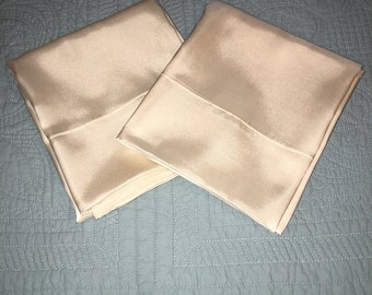 Birthday Gift, Mother's Day Gift, Ivory Satin Pillowcases, Cool to Touch Pillowcases, Silky Satin Pillowcases