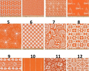 SALE CLEARANCE Lowest Price Grommets Option Also Window CURTAIN Premier  Print Mandarin Orange And White Cotton Customized Width And Length