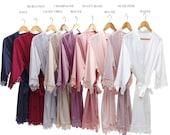 SALE SET OF 10 Bridal Lace Solid Silk Satin Robes Regular Plus size Bridal robe Bridesmaid robe Wedding Solid satin robe
