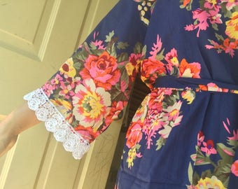 767b0e769e SALE Bride robes Regular Plus 2XL 4XL Wedding robe Bridesmaid Photoshoot  robe Floral Bridal robe gift Personalized robes Floral cotton robes
