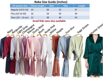 SALE Bridal Lace Solid Silk Satin Robes Regular & Plus size Bridal robes Bridesmaid robes Wedding robes Personalized robe Solid satin robes