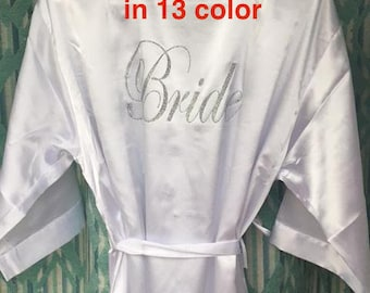 SALE Bride robes, Regular and Plus size Bridesmaid robes Wedding robes Solid Bridal robe Mother's gift Personalized robes, Solid satin robes
