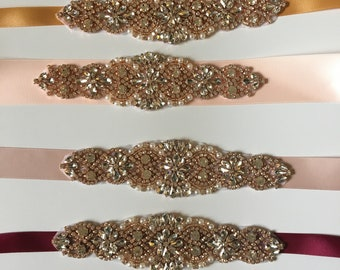 SALE BRIDAL SASH Champagne Bridal sash Rose gold belt Bridal crystal belt Rhinestone belt, Wedding sash/belt Bridesmaid belt Dress Sash/Belt