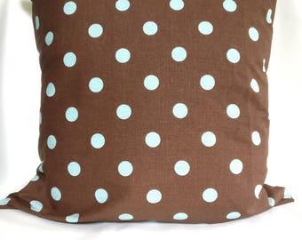 SALE Pillow covers Brown Blue Pillow cases,  Polka Dot pillow, geometric pillows, Pillows Decorative Pillow 18x18 16X16, 14x14, 12x12, 10x10