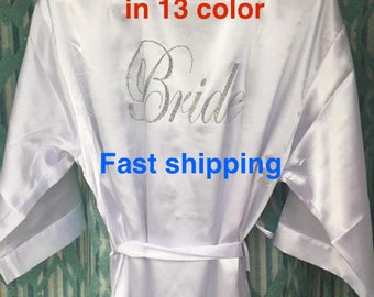SALE Fast shipping Regular and Plus size Bride robes, Bridesmaid robes, Wedding robes Solid Bridal robe Personalized robes Solid satin robe