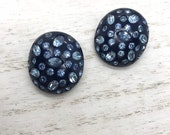 Vintage Weiss rhinestone earrings, celluloid clip-on earrings,1950s, navy blue with blue stones