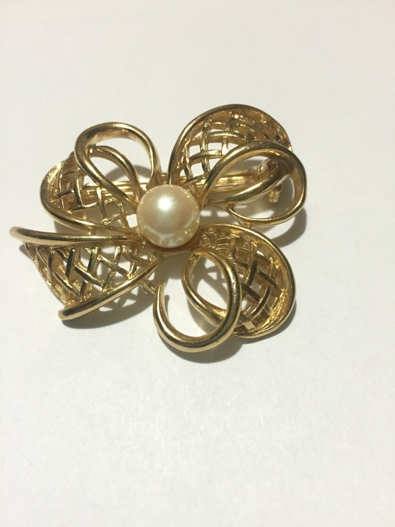 4327fe85b6a Vintage signed Richelieu Gold Bow Brooch with Faux Pearl Open | Etsy