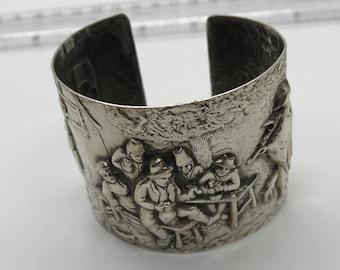 Silver Plated cuff Bracelet, Vintage Made in Denmark, danish, boho