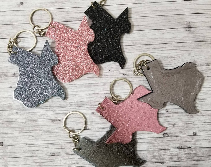 Glitter Texas Key Chains