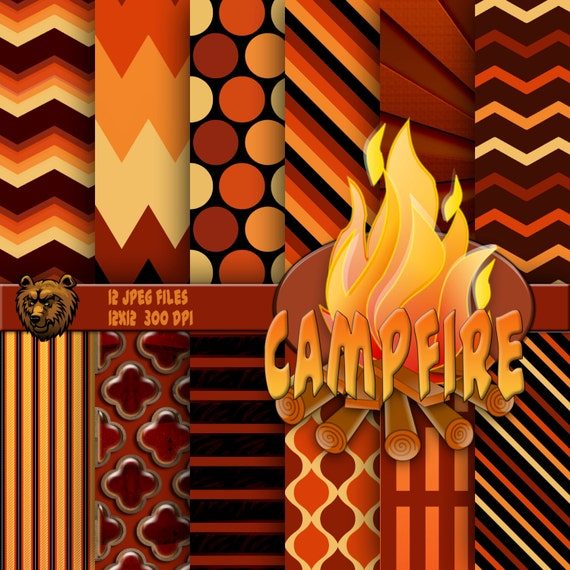 Fire Digital Paper Fire Background Fire Scrapbook Fire Etsy