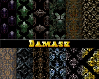 damask digital paper, damask background, damask scrapbook paper