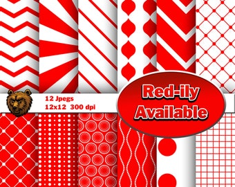 Red digital paper, red scrapbooking paper, red background