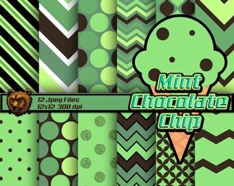 ice cream digital paper, green background, green scrapbook paper
