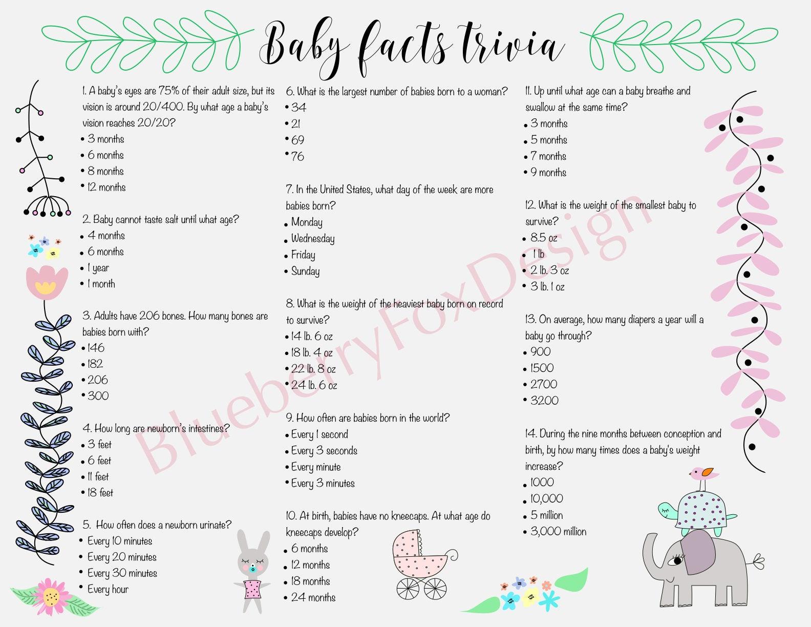 Baby Shower Spiel. Baby-Fakten-Quiz. Druckbare.