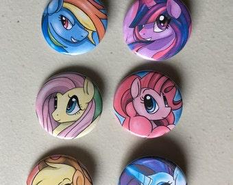 My Little Pony Mane 6 Pin Set