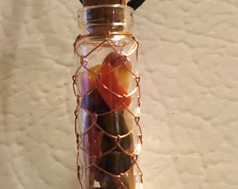 Wire Netted Apothecary Bottle with Gems