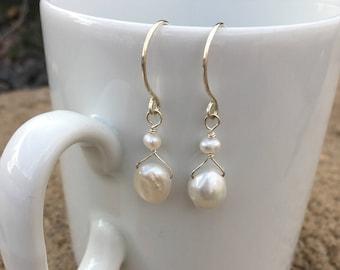 Large freshwater pearl dangle earrings