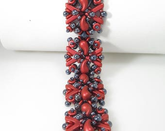 bb45c9a77 Entwined - Beading Tutorial - AVA and Zoliduo 2 color Bracelet - Beading  Pattern - AVA Zoliduo O Beaded Bracelet Tutorial - Bracelet PDF