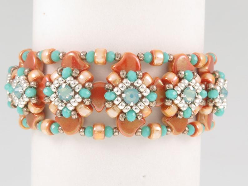 Coupling Bracelet - Beading Tutorial - Ginko Rose Montee Rondelles and Seed  Beads -Beading Pattern - Beaded bracelet- PDF