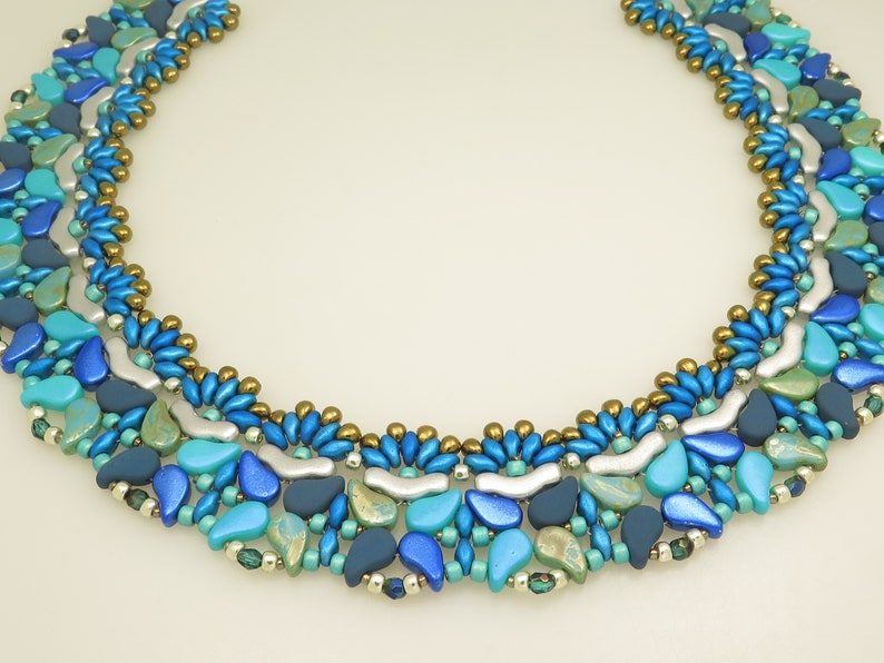 Superduo /& Seed Beads -Beading Pattern -Beaded necklace Bridge bads Peacock Necklace Paisley duo Drops PDF Beading Tutorial