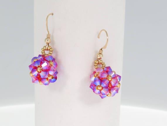53e0faf190ce Crystal Ball Earrings Beading Tutorial Swarovski Earrings