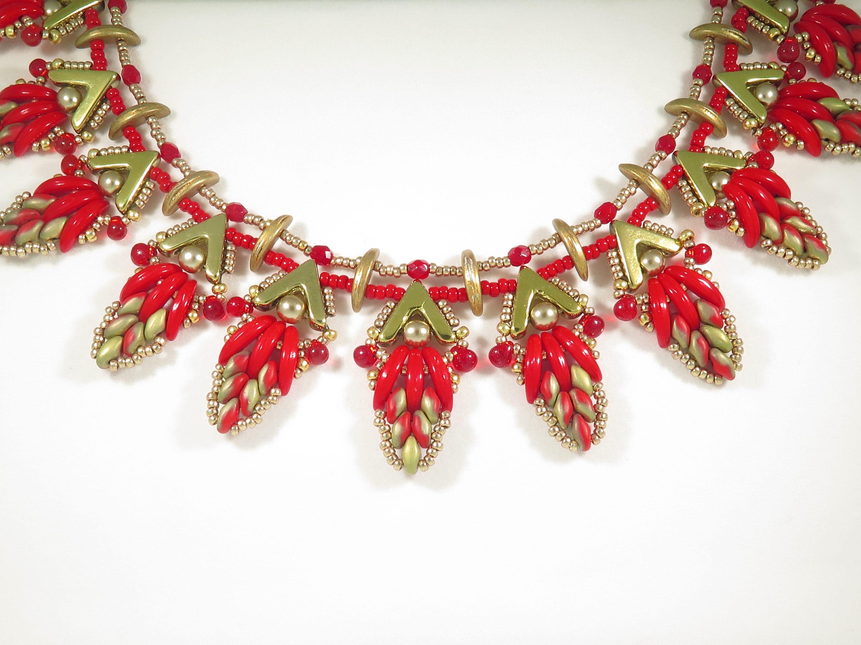 L'automne L'automne L'automne feuilles collier Kit - tutoriel perles et Kit - AVA croissant Super Duo de perles gouttes de perles de rocaille - tutoriel collier de perles et KIT 2df886