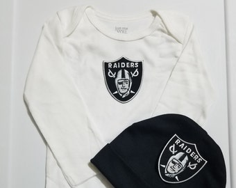 8f1f3630a Oakland Raiders baby boy outfit/ Oakland Raiders baby shower gift/ Raiders  take home/ raiders baby/raiders newborn/raiders coming home