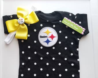 Pittsburg Steelers baby girl outfit-Steelers baby girl shower gift-steelers girl take home-newborn steelers-toddler steelers/baby steelers
