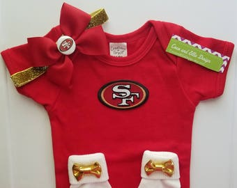 ea17922f0 San Francisco 49ERS baby girl outfit  49ers baby  49ers baby shower  49ers  takehome outfit 49ers newborn  49ers baby gift  49ers girl